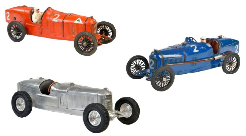 Links oben: CIJ Alfa P2, Blech   Links unten: Alfa Romeo Rennwagen, Aluminium, 1950er Jahre   Rechts: CIJ Alfa P2, Blech