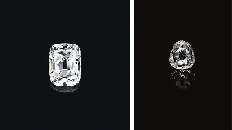 Links: Aus kaiserlichem Besitz: Der Erzherzog Joseph-Diamant (Foto: Christie's) Rechts: Der Beau Sancy verfügt über eine royale Provenienz, die sich lange zurückverfolgen lässt (Foto: Sotheby's)