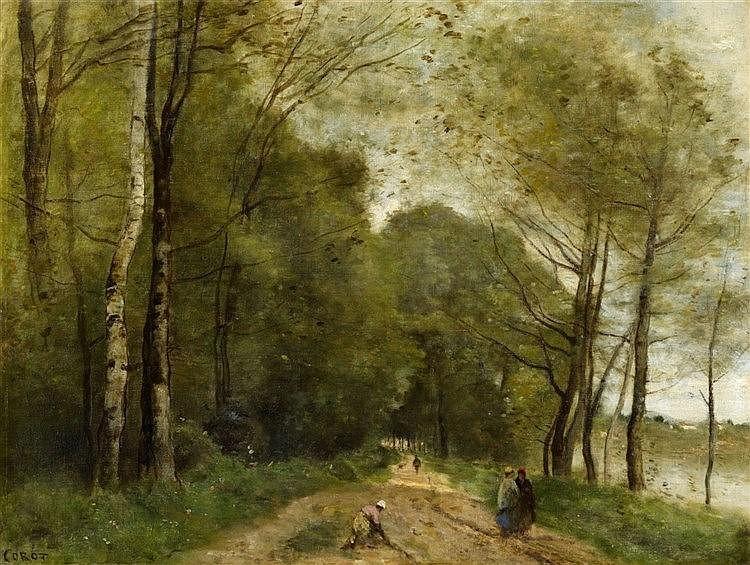 JEAN BAPTISTE CAMILLE COROT (1796 Paris - 1875 ebenda) - Paysage d'été avec sentier et lac, huile sur toile, 47,5 x 62 cm, signé Estimation: 150,000-180,000 EUR