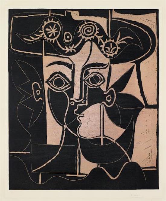 Pablo Picasso Grande tête de femme au chapeau orné (Large Head of a Woman with Decorated Hat) , 1962 Utrop: 832 000 SEK Phillips