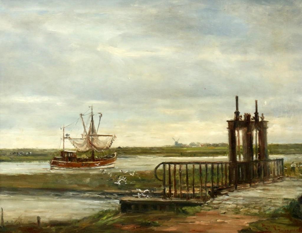 """""""Niederländische Kanallandschaft"""", Öl/Platte, 35x27 cm, signiert Startpreis: 600 EUR"""