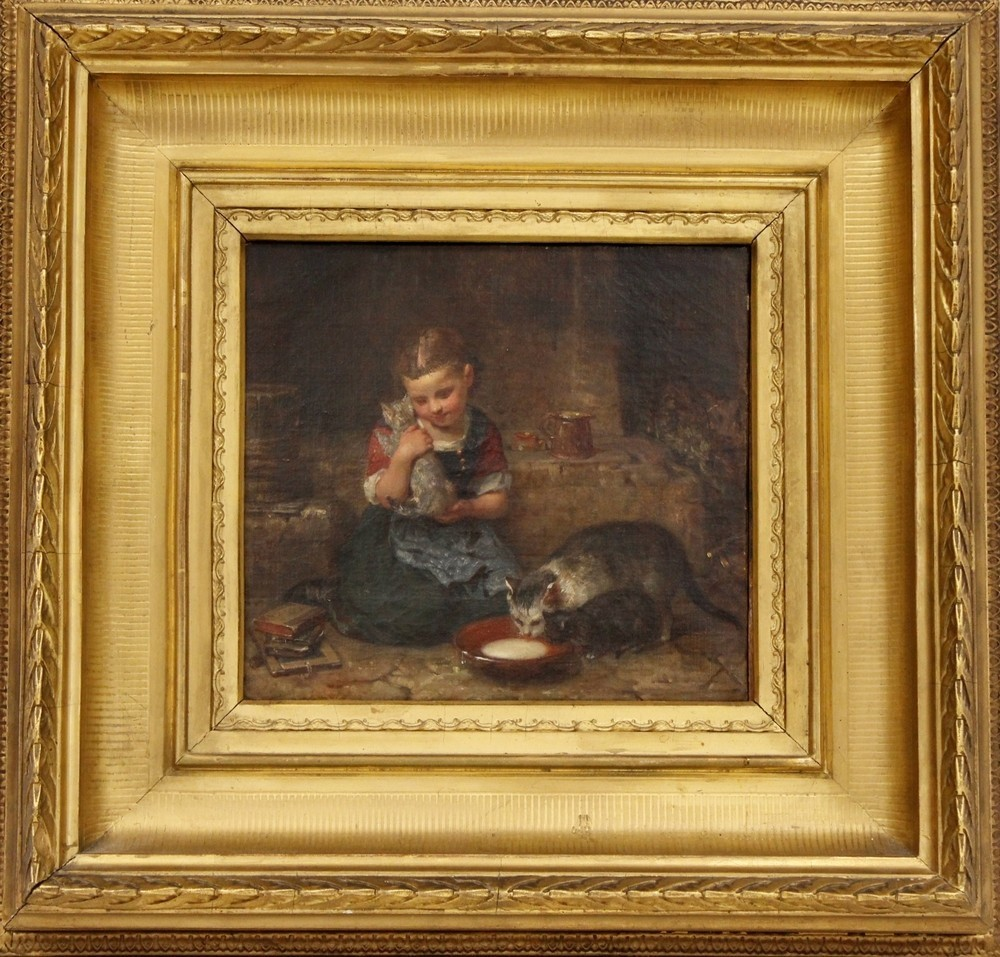 MINNA VAN HEEREN (1823-1888) - Kind mit Katzen, Ölgemälde, 20 x 22 cm Ausruf: 1.800 EUR