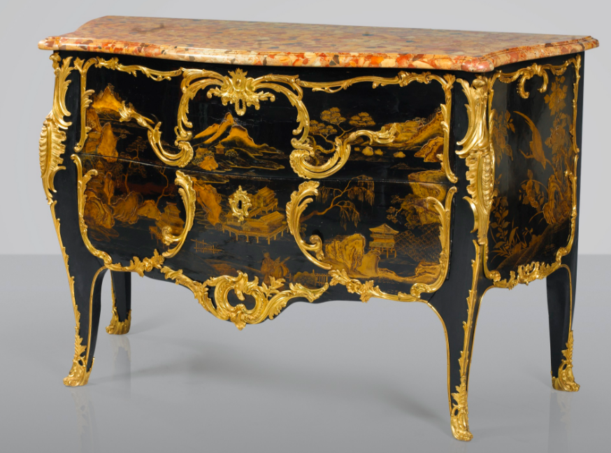 Chest of drawers in Chinese lacquer, European varnish, Louis XV period, around 1740-1750, stamped D.F. for Jean Desforges