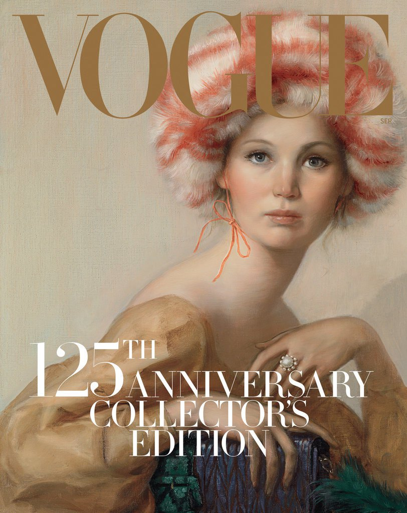 Jennifer Lawrence painted by John Currin for the September 2017 cover of VogueImage: Vogue/John Currin
