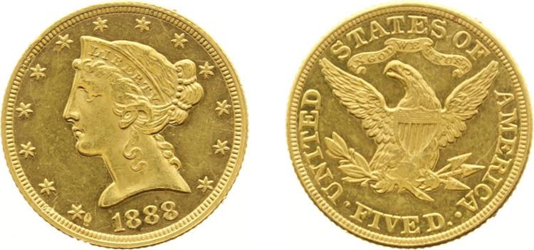 USA - Regular Coinage - 5 Dollars - Coronet Head - 1888. Opening bid $870. Photo via MPO Auctions