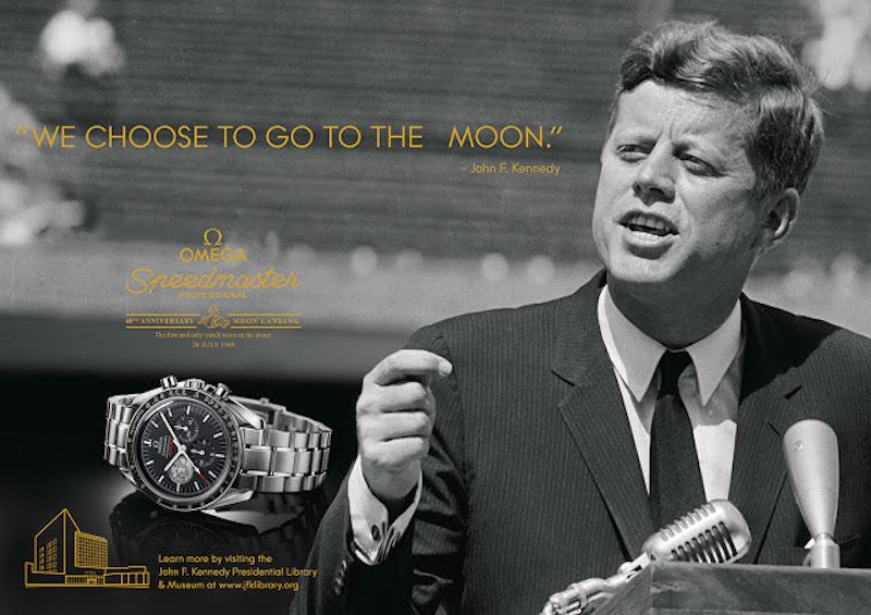 John F. Kennedy nella pubblicità dell'Omega Speedmaster Moon.