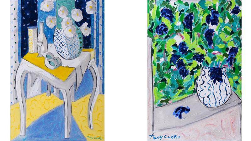 TONY CURTIS (1925 New York - 2010 Henderson) Links: Stilleben mit Blumen in einer Vase, Acryl/Lwd., signiert Rechts: Flowers for Jamie, Acryl/Lwd., signiert