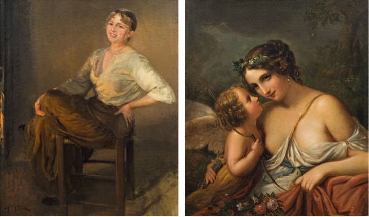 Links: FRITZ VON UHDE (1848 Wolkenburg - 1911 München) - Lachendes Mädchen (Am Herdfeuer), Öl/Lwd., 146x117 cm, signiert, 1893 Rufpreis: 7.000 EUR Rechts: ACQUAROLI (Italien 19. Jh.) - Venus und Amor, Öl/Lwd., 86x70 cm, signiert und datiert, 1858 Rufpreis: 1.600 EUR