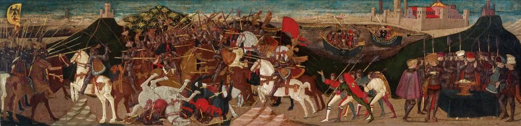 APOLLONIO DI GIOVANNI (Florenz um 1415/17–1465) - Die Schlacht von Pharsalos, Tempera mit Gold/Holz, 40,5 x 157,2 cm Schätzwert: 400.000-600.000 EUR