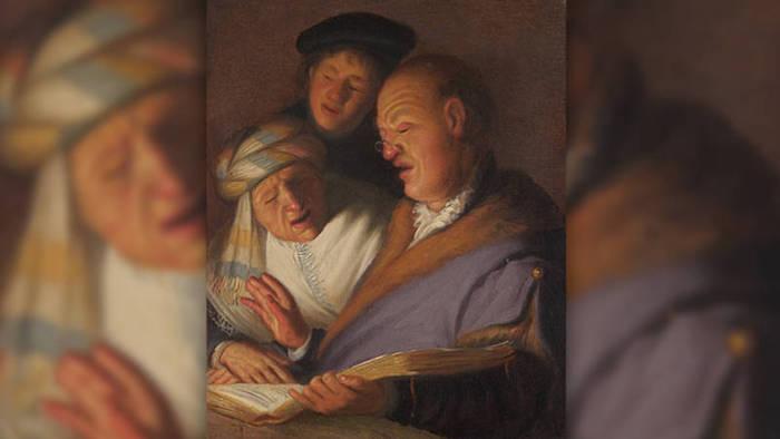 """La pintura de Rembrandt """"Los tres músicos"""" simboliza el oído. La obra está en Nueva York, en The Leiden Collection """"El espectáculo del vendedor"""" es en Leiden, en el Museo de Lakenhal"""