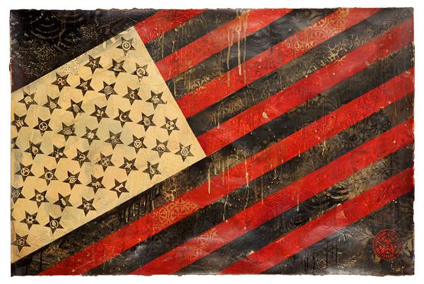 "Shepard Fairey ""Flag"", 2010. Utrop: 140.000 kronor. Tajan."