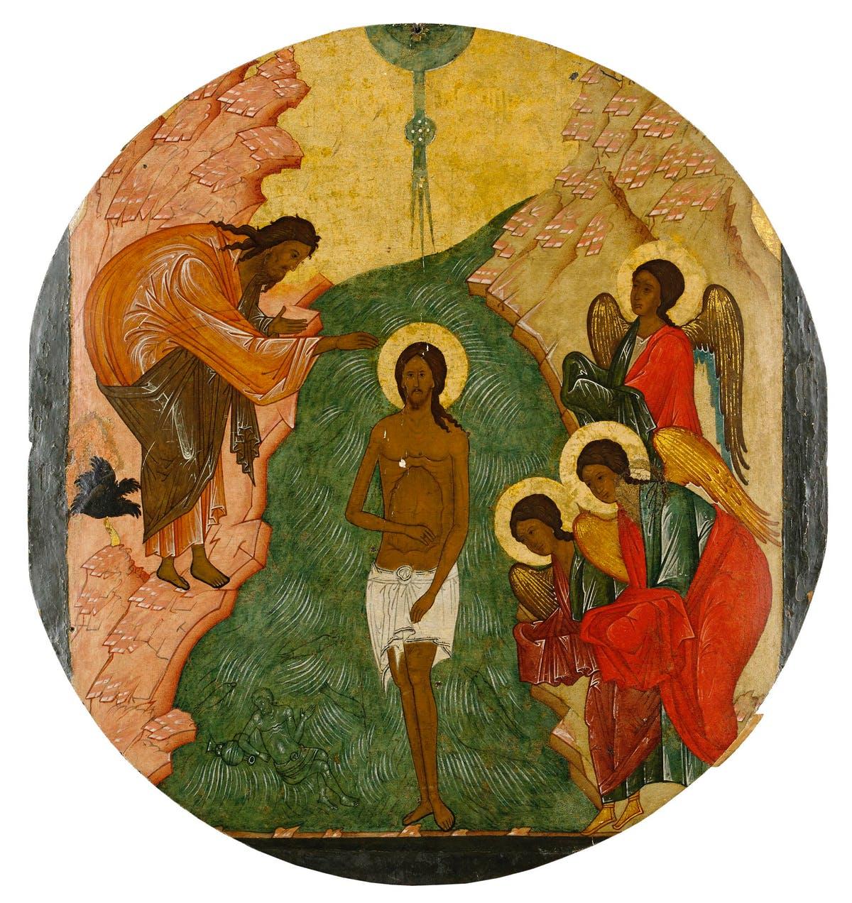 Ikon som visar Jesu dop. Detta examplar såldes via Stockholms Auktionsverk för 1 050 000 sek. Bild: Stockholms Auktionsverk
