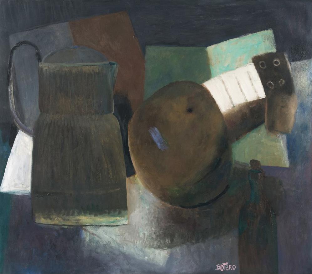 FERNANDO BOTERO, Bodegon con guitarra, 1958