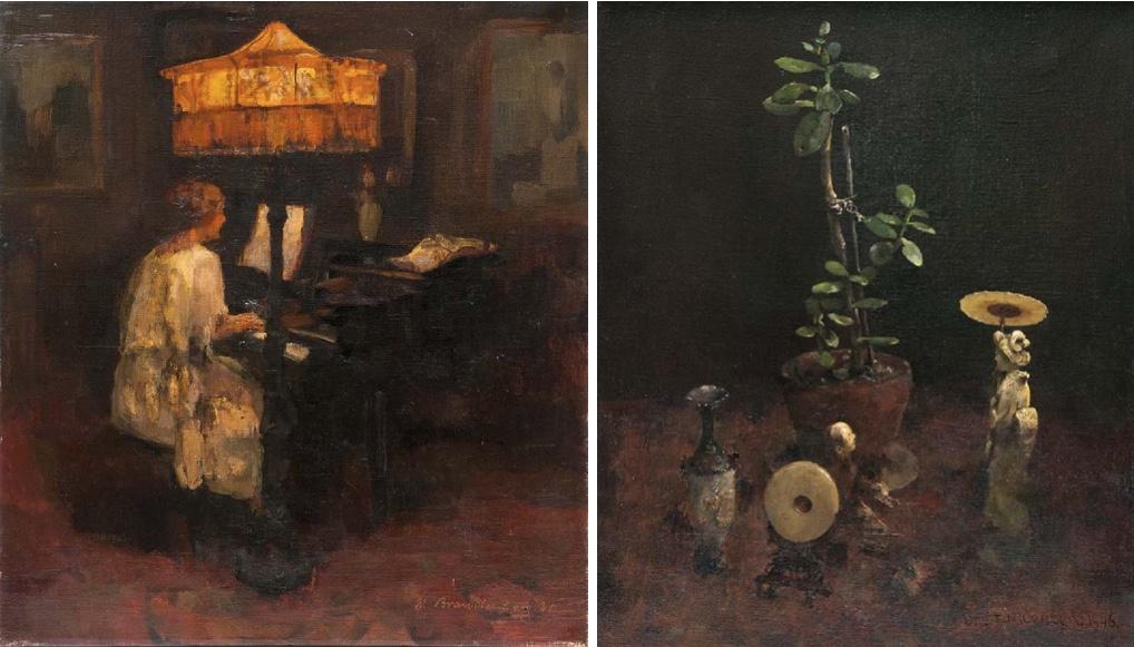 LUDGER WILHLEM BRANDENBERG (1889-1975) Links: o.T. (Frau am Flügel), Öl/Lwd., signiert und datiert, 1921 Rechts: Stillleben - Japan, Öl/Lwd., signiert und datiert, 1946