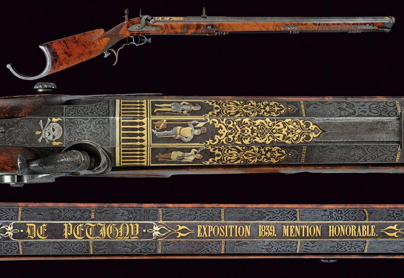 En enastående karbin av De Petigny. Uppvisad vid den industriella expositionen 1839, Paris. Utropspris: 6000 SEK