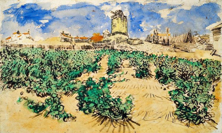 Le Moulin d'Alphonse Daudet à Fontvieille (1888) von Van Gogh bei Dickinson, Aussteller 402