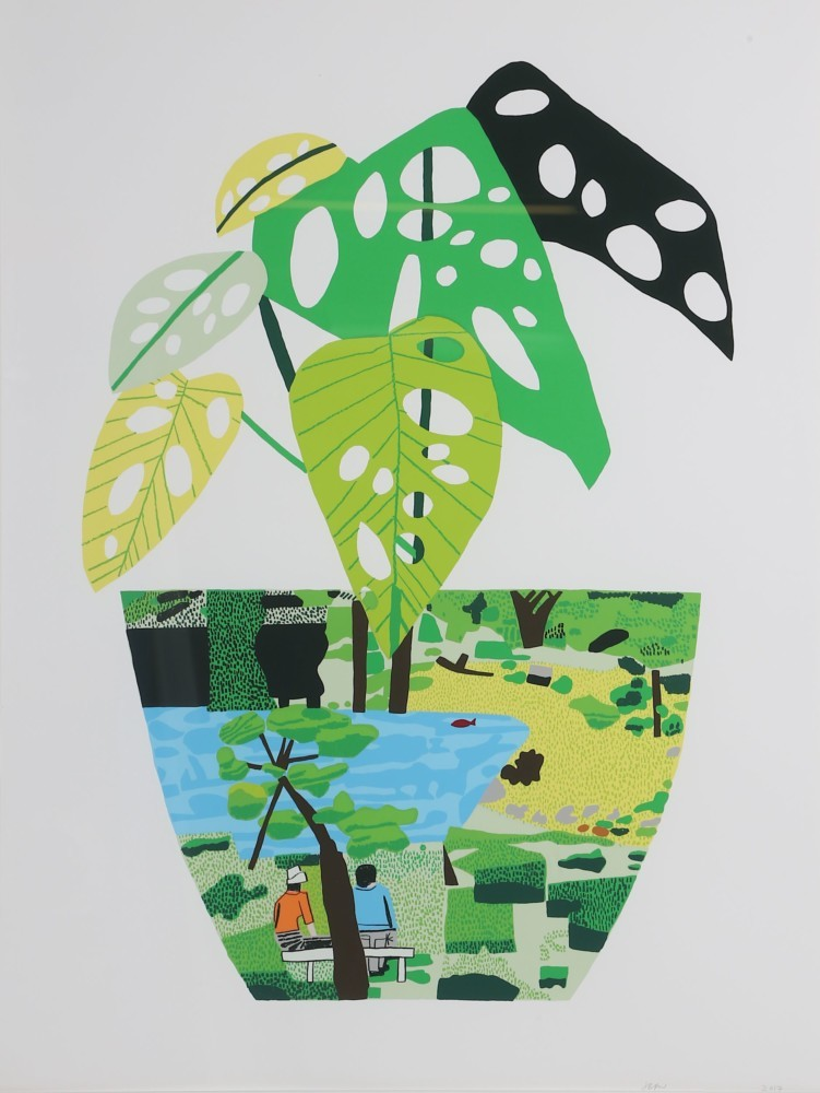 Jonas Wood, Paysage avec plante, 2017, image ©Chiswick Auctions