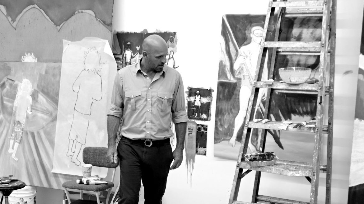 Peter Doig dans son studio à New York, 2013 Courtesy Michael Werner Gallery