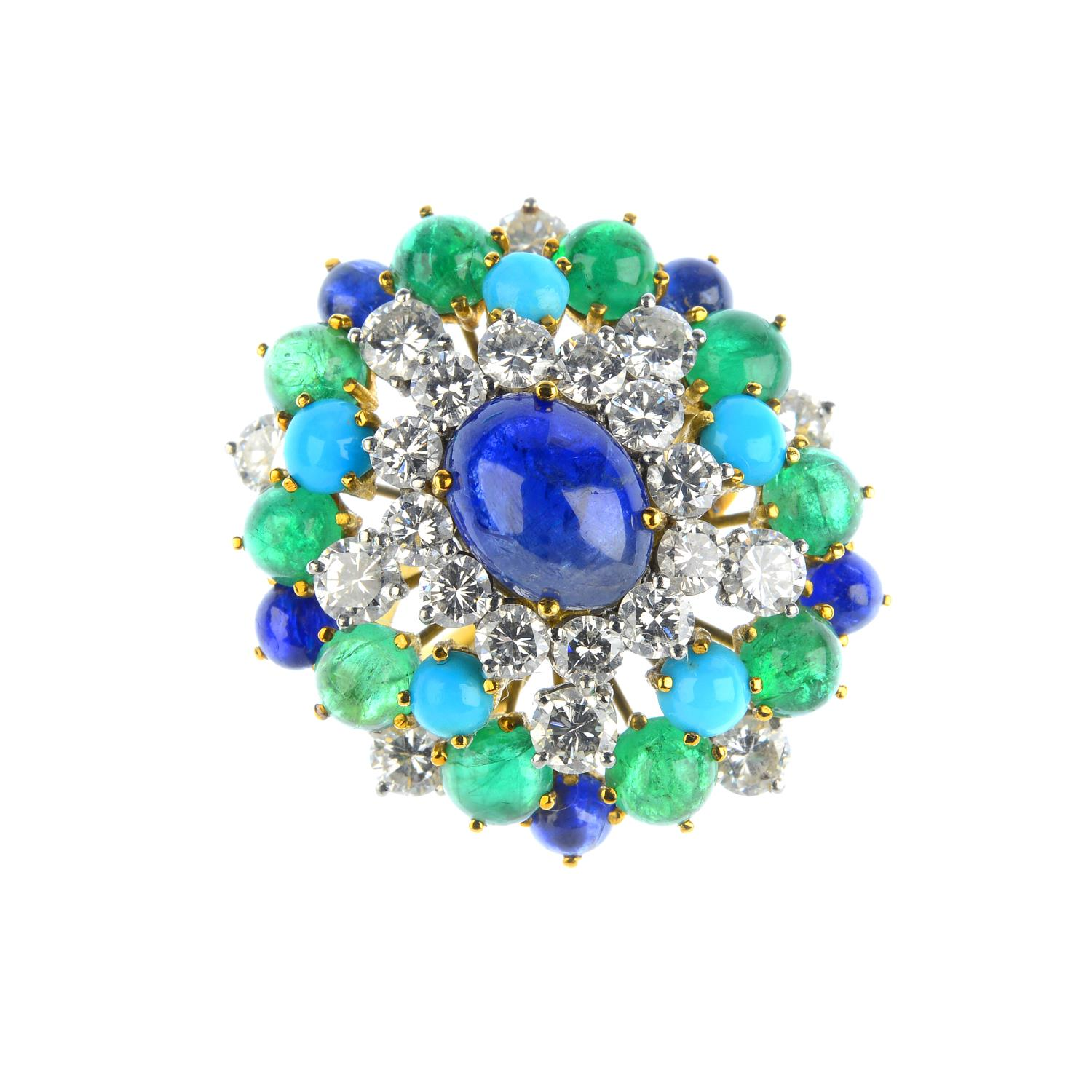A 1960s diamond, emerald and enamel brooch. Designed as a textured bull, with pave-set diamond horns and brilliant-cut diamond, circular emerald cabochon and enamel foliate motif. Italian marks.
