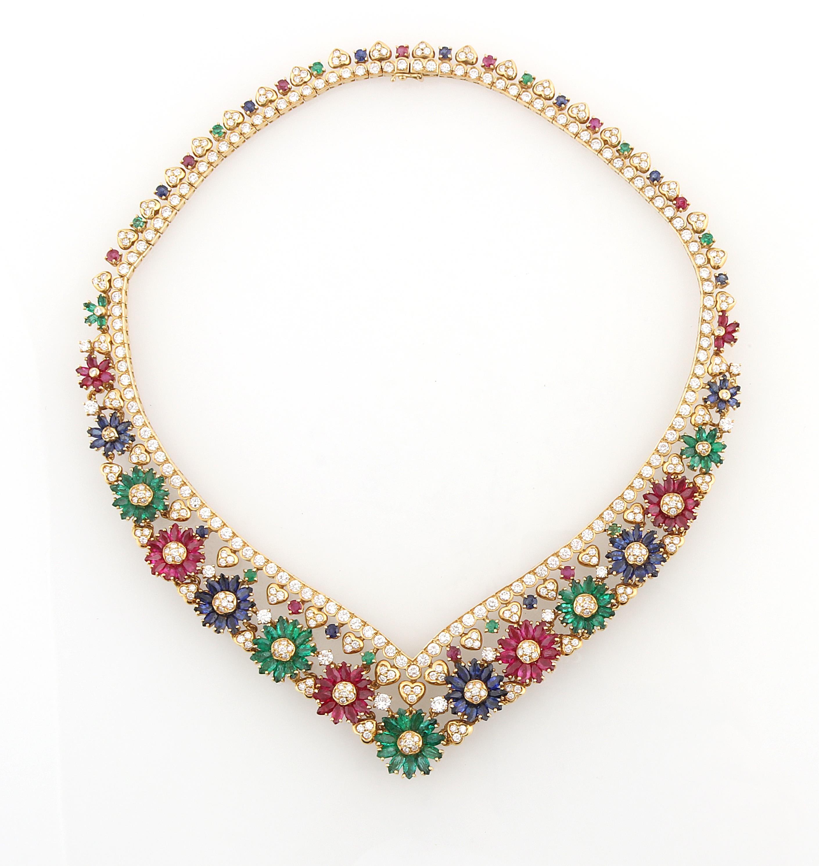 Collier en or, saphirs, rubis et émeraudes, image ©Dorotheum