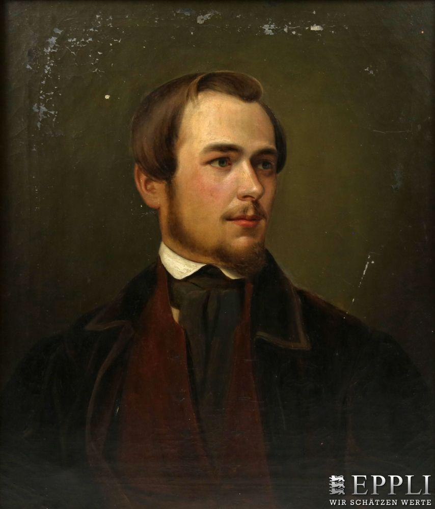 C. WIED (wohl Carl zu Wied) - Portrait des Johannes Christian Deiker, Öl/Lwd., bezeichnet und datiert, 1848