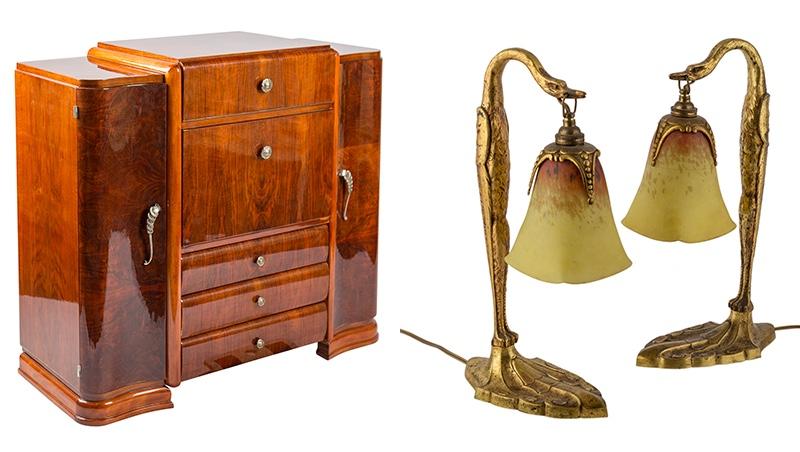 Links: Bar im Art déco-Stil mit Nussbaumfurnier Rechts: Paar Tischleuchten von Charles Ranc