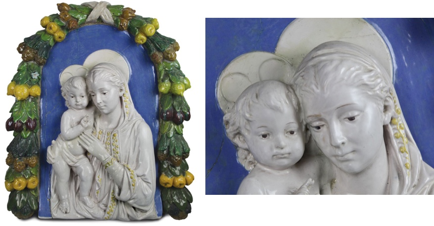 ANDREA DELLA ROBBIA (1435 Florenz 1525) - Madonna mit Kind, polychrom bemalte Majolika, 1510-30 Schätzpreis: 60.000-70.000 EUR