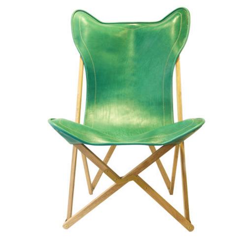Fauteuil Tripolina en cuir vert Artemest