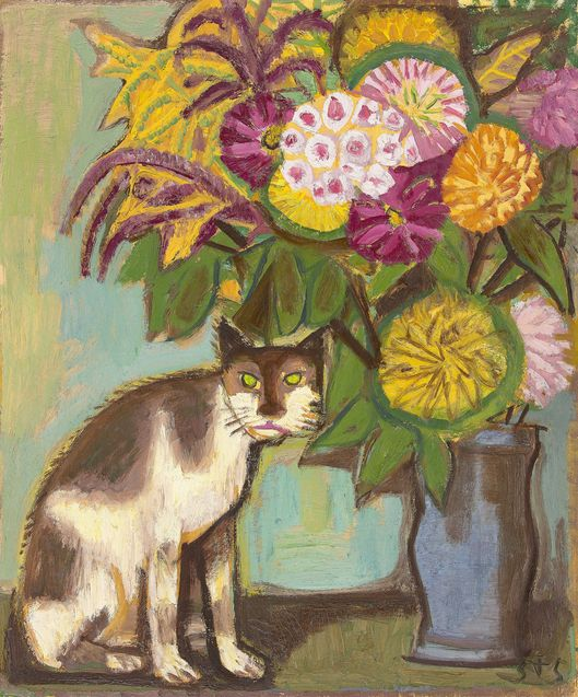 Otto Dix, Cat and flowers (in vase), 1955