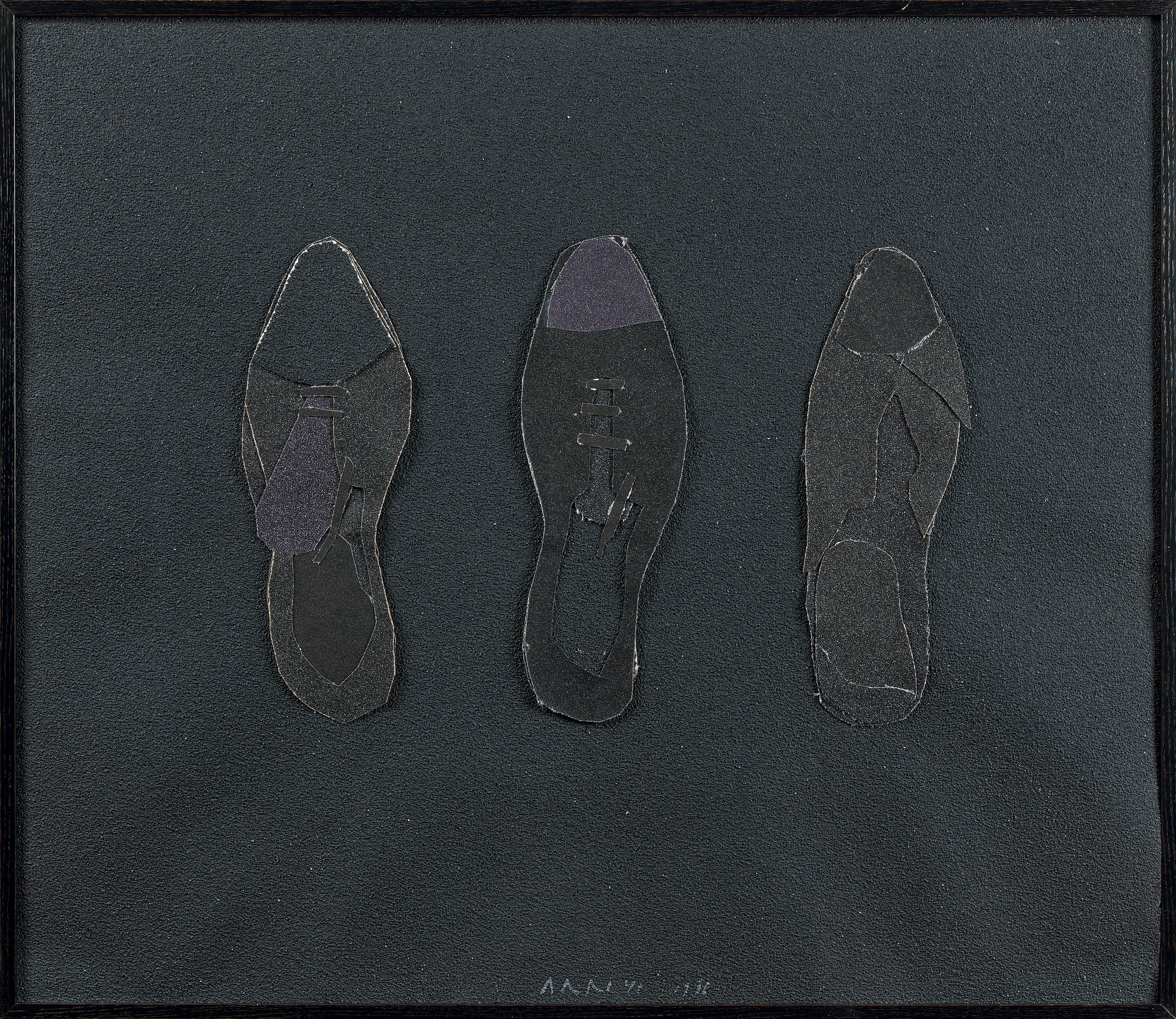 Eduardo ARROYO (Né en 1937) Les trois souliers de Kreuzberg Collage signé au centre
