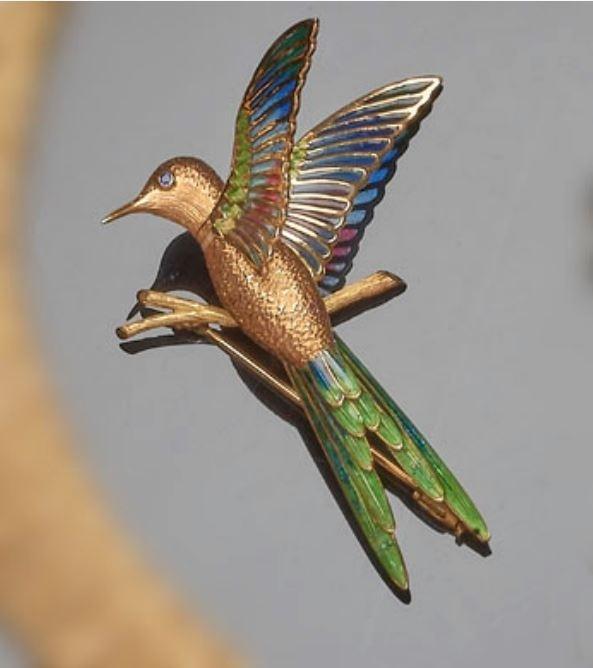 Bezaubernde Kolibri-Brosche mit buntem Emaille