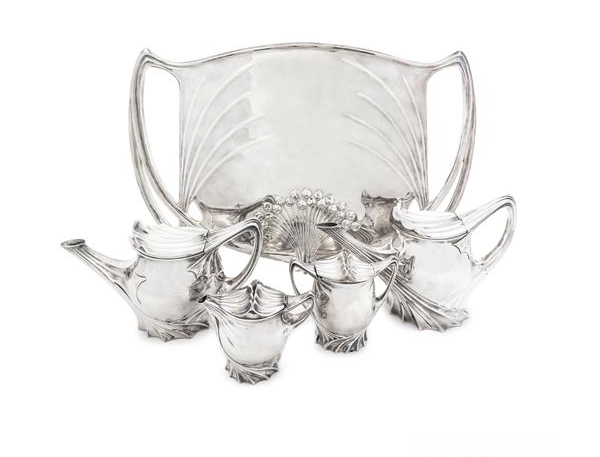 A German Art Nouveau Silver-Plate Four-Piece Tea and Coffee Set and Matching Tray. Low estimate: 10 000 USD. Leslie Hindman Auctioneers