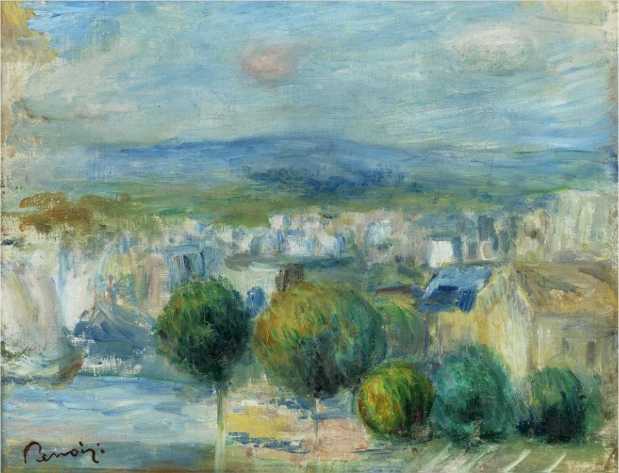 PIERRE-AUGUSTE RENOIR (1841 Limoges – 1919 Cagnes) - Blick aus dem Fenster auf Stadt und Hafen, Öl/Lwd., 23 x 29 cm, Signaturstempel, 1893 Schätzpreis: 160.000-180.000 EUR