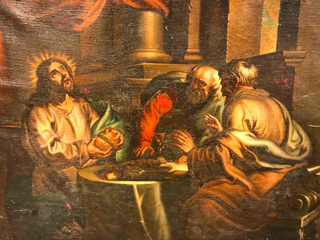 Ecole Vénitienne vers 1630, Les pèlerins d'Emmaus, Huile sur toile