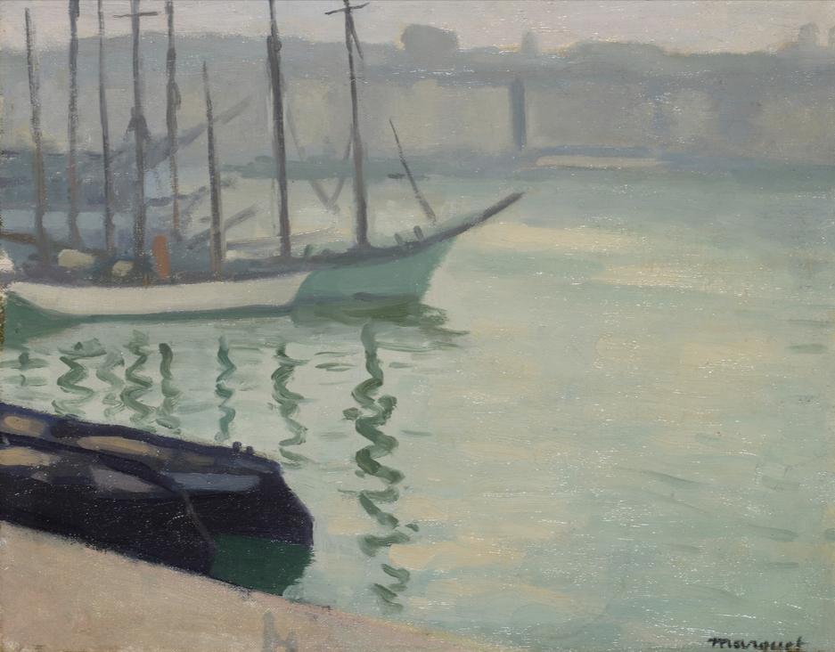 Albert Marquet Voiliers dans le port de Marseille, 1918 Huile sur toile collée sur carton