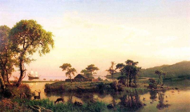 "ALBERT BIERSTADT. ""Gosnold at Cuttyhunk"". Óleo sobre lienzo (1858)"