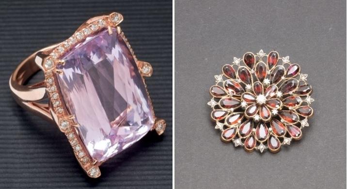 Links: Ring in Rotgold mit Kunzit und Diamanten Rechts: Brosche in Gelbgold und Silber mit Granatsteinen und Diamanten