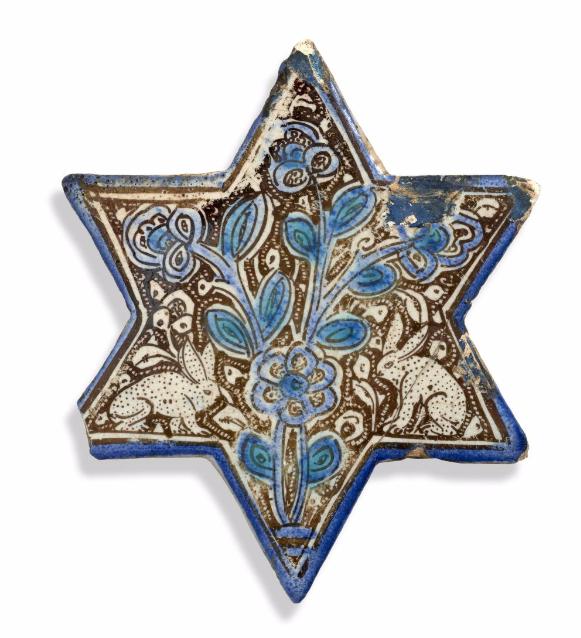 Étoiel en céramique lustrée aux lapins, Kashan, 13e siècle Artcurial