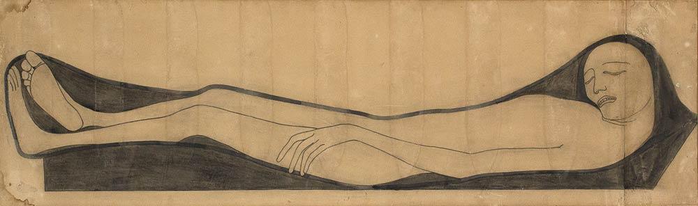 ADOLFO WILDT (1868 Mailand 1931) - Liegende Figur, Tinte/Papier/Lwd., 1913