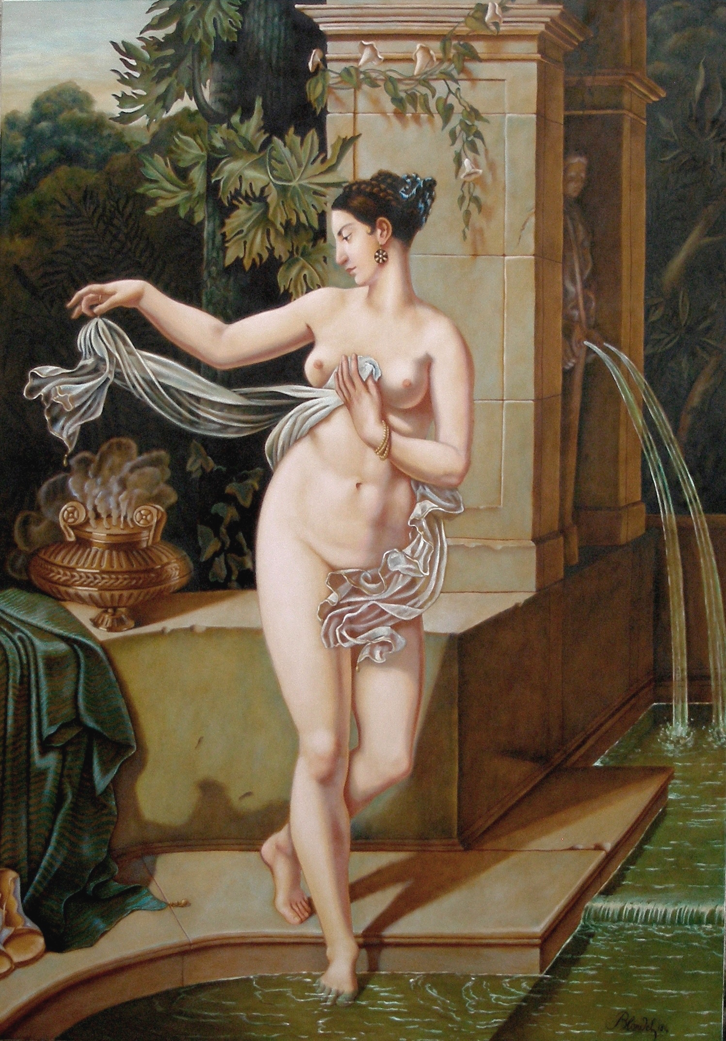 Faithful replica of La Circassienes au Bain by John Parker, after the original 1814 oil painting by Merry-Joseph Blondel. Image: Wiki Commons