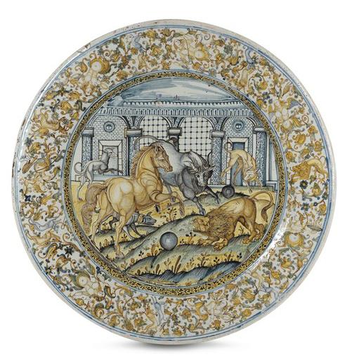 Piatto da pompa Castelli, Francesco Angelo Grue e bottega, 1640-1645