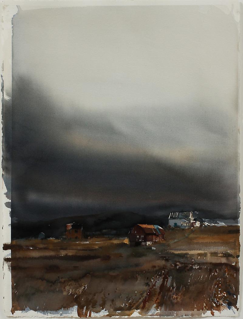 """LARS LERIN (F.1954). """"Sömmerskans hus och ett hus bredvid"""". Akvarell."""