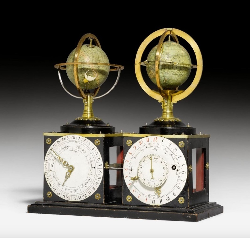 Louis XVI, horloge à deux globes, vers 1785, image ©Koller