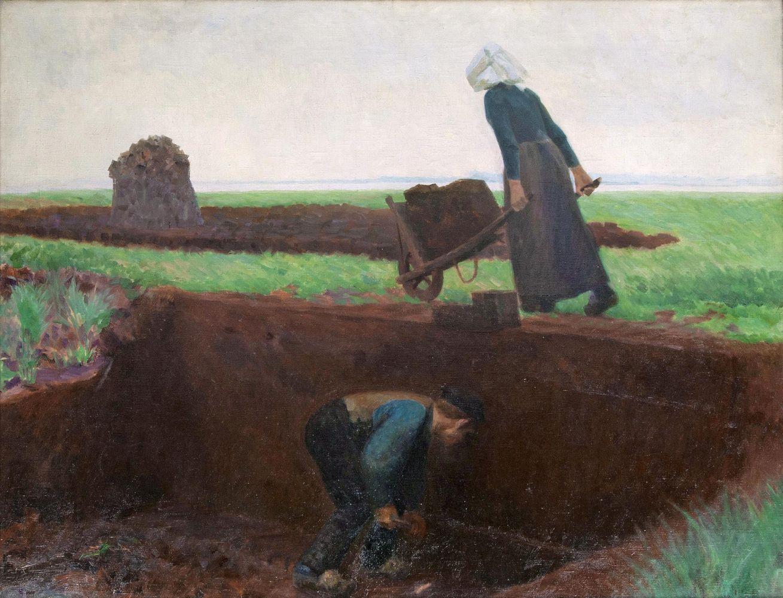 Julius von Ehren (1864 Altona - 1944 Hamburg), Torfstecher, Öl/Lwd., signiert, 1903