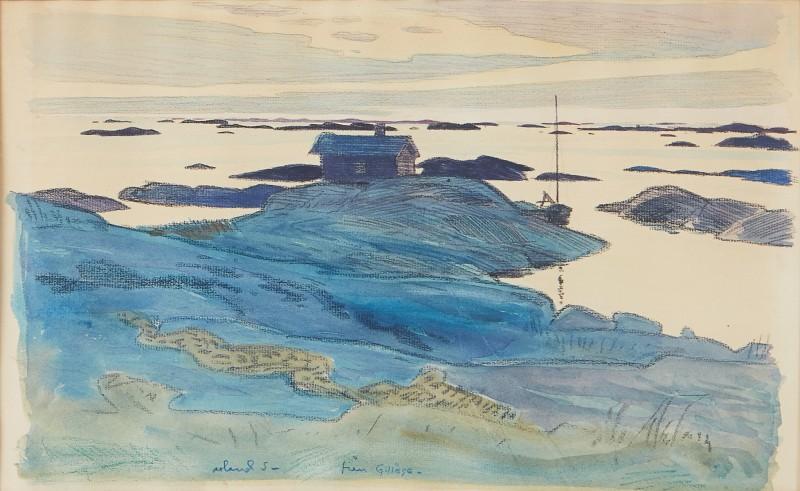 """Roland Svensson, """"Från Gillöga"""", blandteknik. Foto: Stockholms Auktionsverk."""