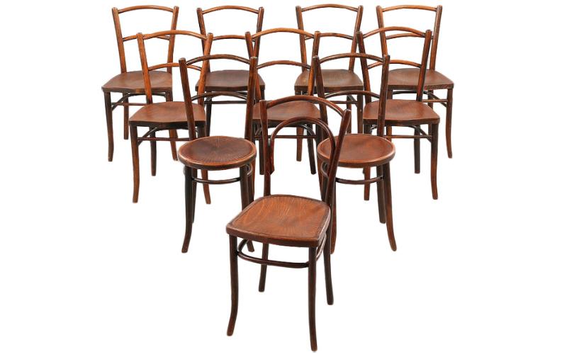 Stolar, 10 st liknande, Thonetmodell, en stol Mundus, 1900-talets första hälft. Utrop: 4,000 Sek. Bukowskis market