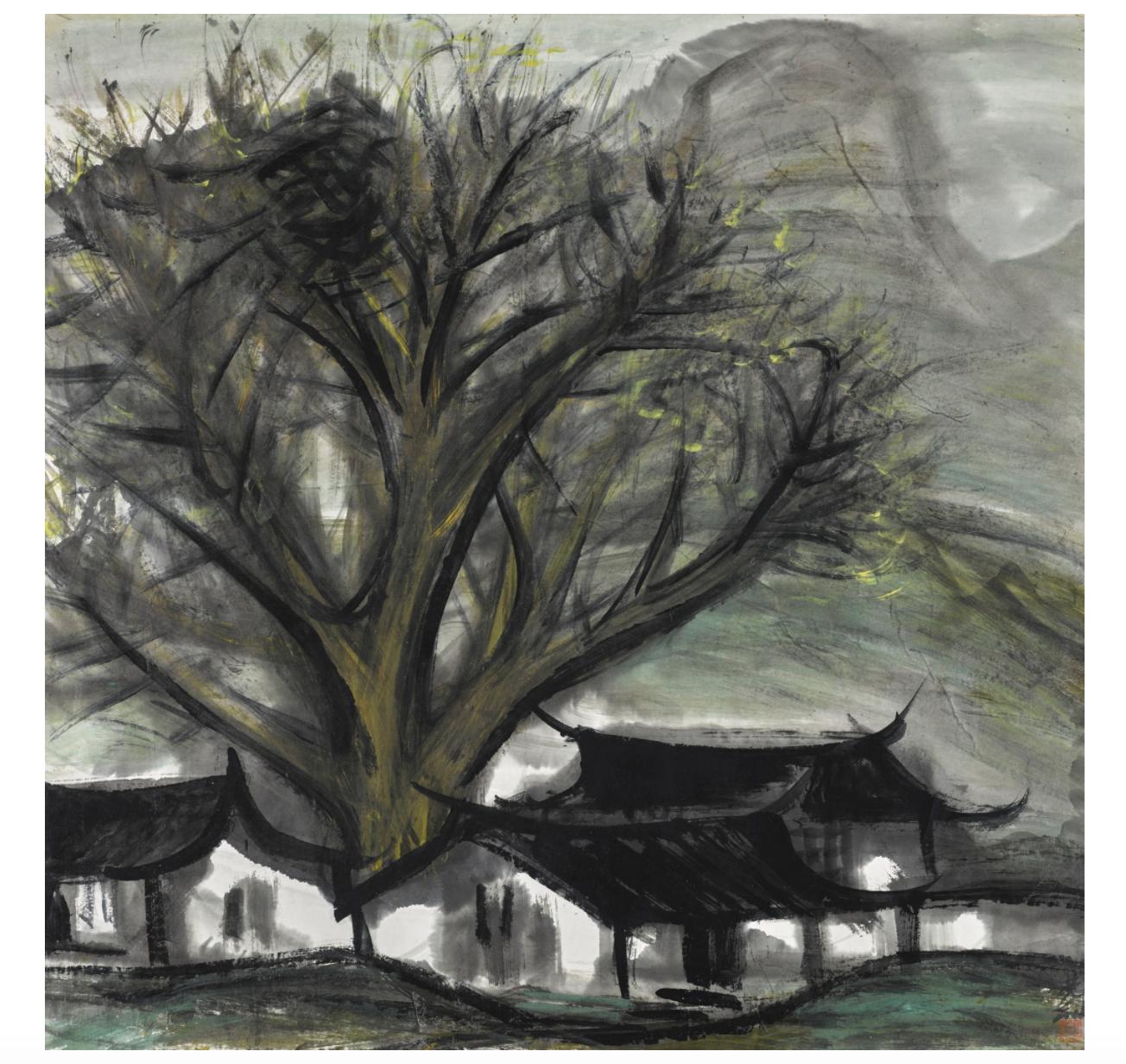 林風眠(1900-1991年)《樹下人家》 水墨設色紙本 鏡框