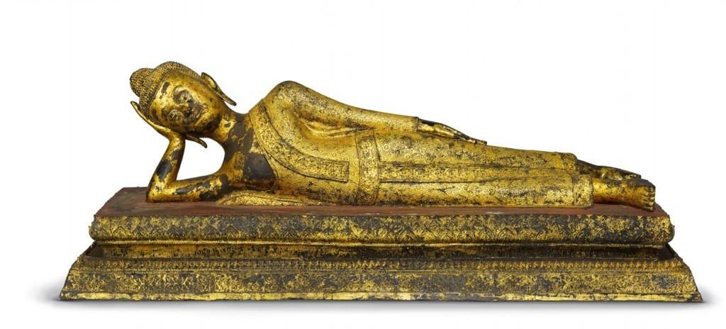 側躺的鍍金青銅佛祖, 泰國