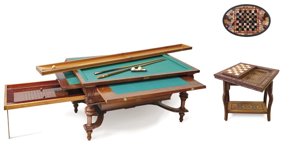 Links: Billard- und Verwandlungstisch, Deutschland Ende 19. Jh. Rechts oben: Schachbrett in Pietra-Dura-Technik, Italien 19. Jh. Rechts unten: Spieltisch in Certosinatechnik, um 1900