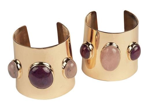 Brazalete de KGS Design en bronce con rubís y cuarzo rosa
